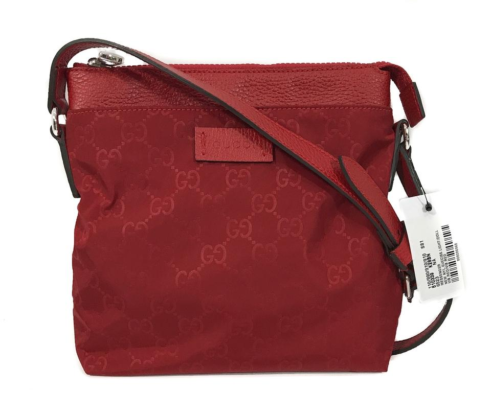 dc875ff2e17c Gucci Crossbody 510339 Gg Guccissima Mini Red Nylon Messenger Bag 27% off  retail