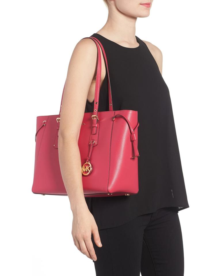 41f7dcb507f2 ... MICHAEL Michael Kors Voyager Crossgrain Leather Fits Ipad Medium Tote  in Ultra Pink.