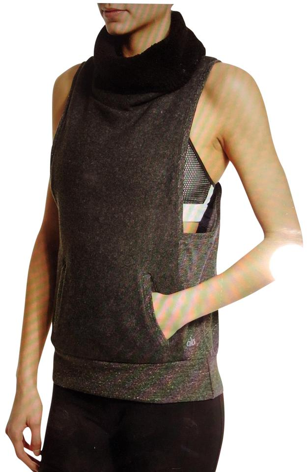 Alo Grey Yoga Frost Winter Sleeveless Sweater Activewear Top Size 4 ... 33d0d5789687