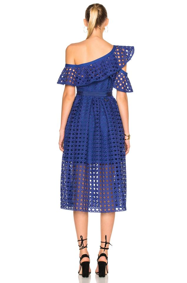 fc9315f1efe7 Cobalt Blue Maxi Dress by self-portrait Guipure Frill Midi Image 3. 1234