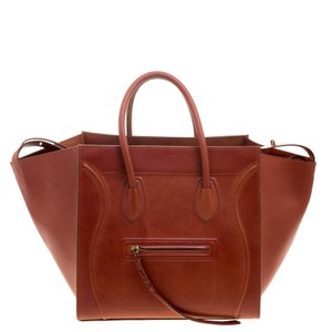 Céline Copper Leather Medium Phantom Luggage Tote in Brown