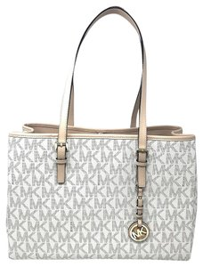 Michael Kors Monogram Leather Handbag Tote in vanilla