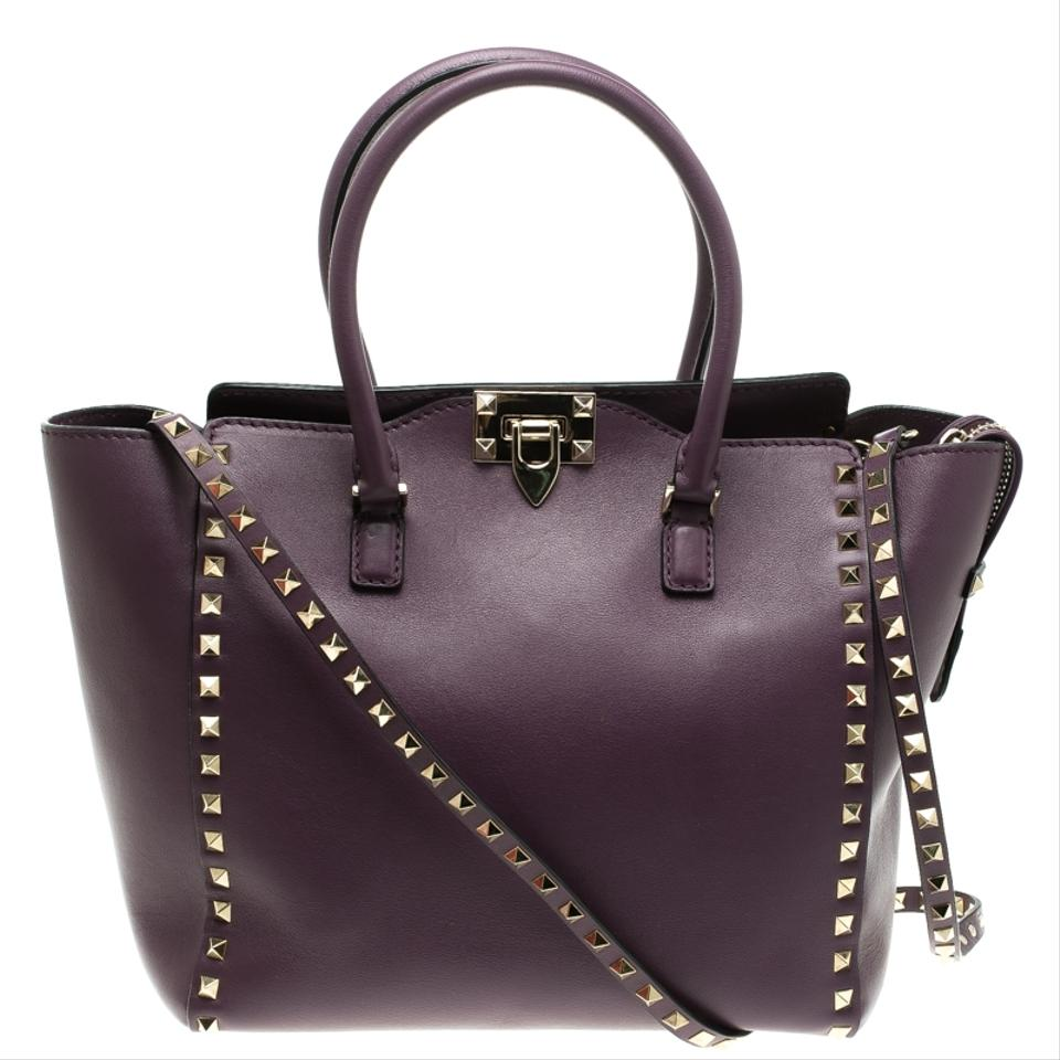 and Rockstud Valentino Fabric Tote Purple Medium Leather w5BIT