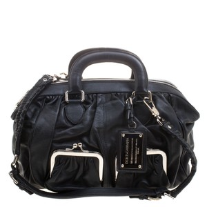 Dolce&Gabbana Miss Sicily Leather Satchel in Black
