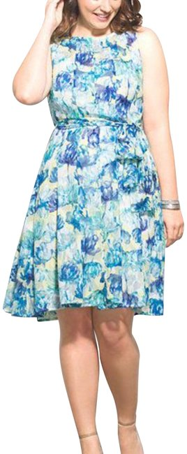 Item - Yellow Blue Luxe By Floral Mid-length Cocktail Dress Size 12 (L)