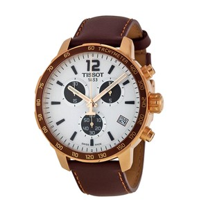 Tissot Rose Gold Quickster Chronograph Silver Dial Unisex Watch