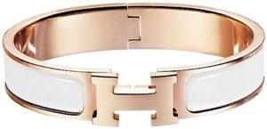 Hermès 2018 NEW Clic H Narrow White Enamel Rose Gold Bracelet Pm