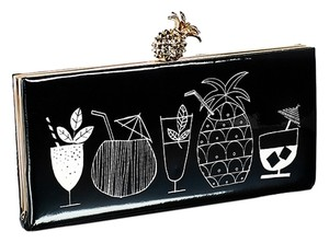 Kate Spade Black White Patent Leather Gold Pineapple Clutch