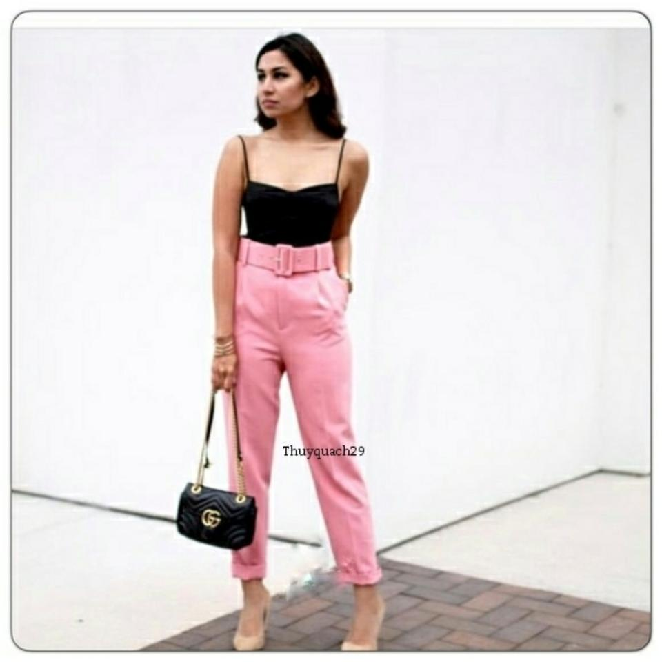 338eec5a Zara Pink Trousers with Belt (2265) Capris Size 8 (M, 29, 30) - Tradesy