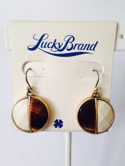 Lucky Brand NWT Faceted 50/50 White & Tigers Eye Round Earrings