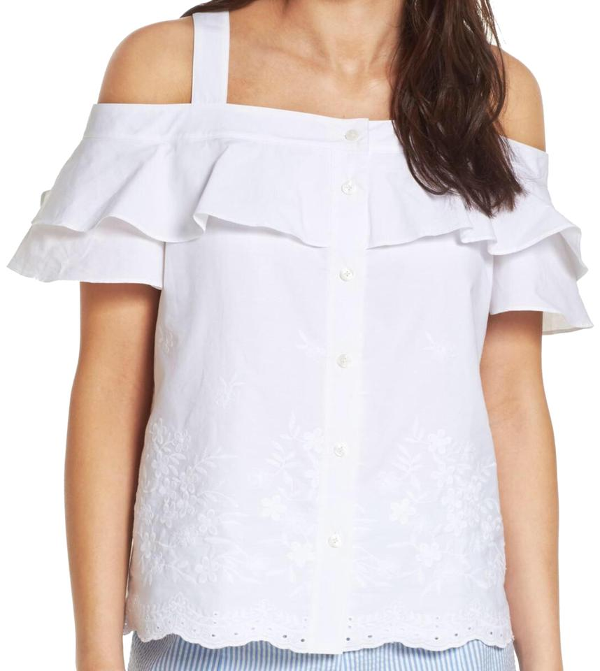 ec2a8373078365 Draper James White Nellie Cold Shoulder Eyelet Embroidered Ruffle Tank  Blouse