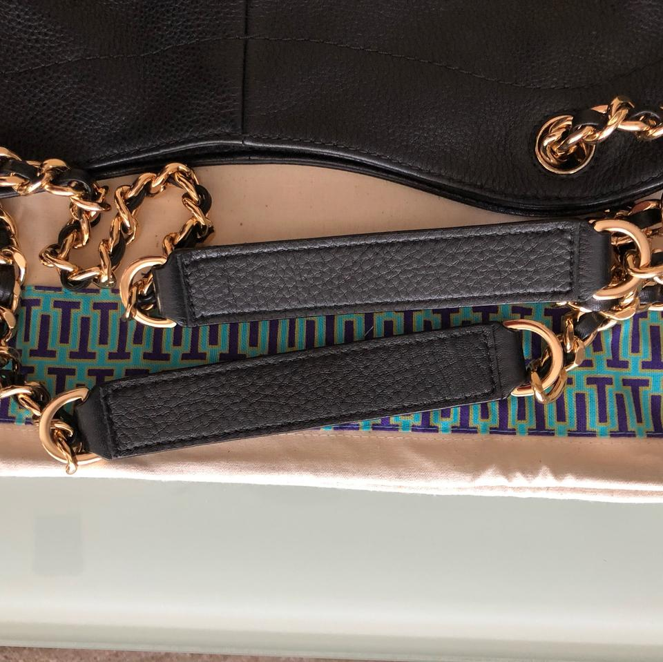 65abf0551e1c Tory Burch Marion Slouchy Tote Black   Gold Hardware Leather + Suede  Shoulder Bag - Tradesy