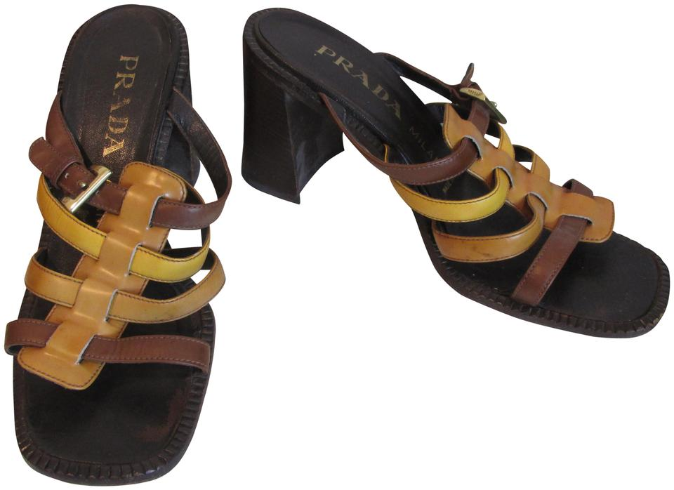 729bf70cf80737 Prada Brown Yellow Tan 8 1 2 Leather Slip On Block Sandals Size EU ...