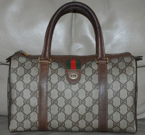 Gucci Accessory Collection Made In Italy Monogram Vintage Satchel in Brown