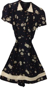 Jill Stuart short dress Navy Blue with Dandelion Print on Tradesy