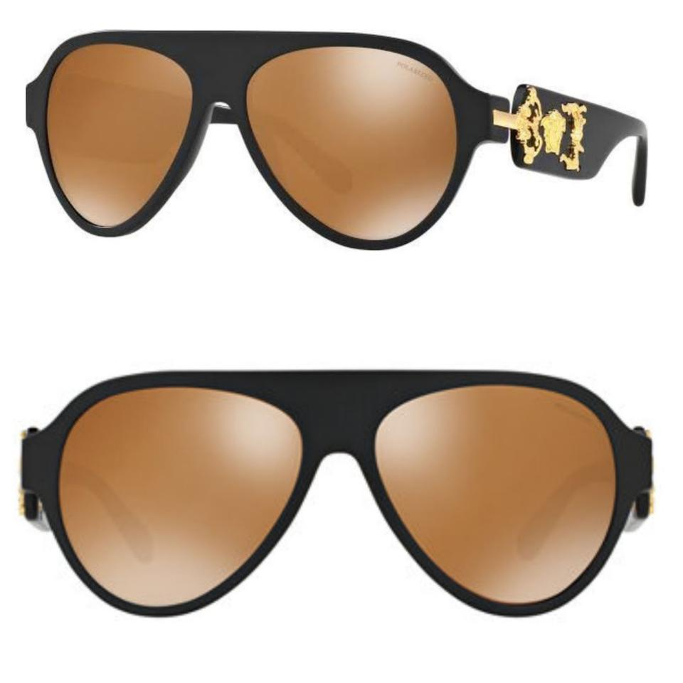 4920cd92081 Versace Black and Gold  quot Mod 4323 Medusa Aviator S Sunglasses - Tradesy