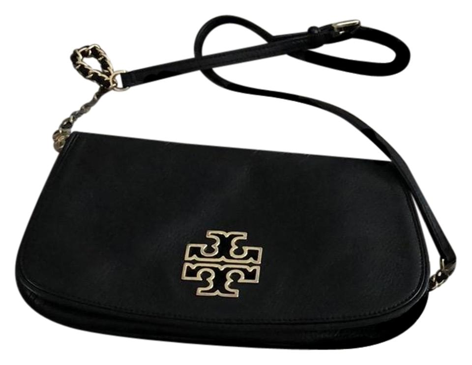 Pebbled Convertible Leather Gold Britten Black Hardware W Tory Burch Cross Bag Body Crossbody Clutch vzEEwTq