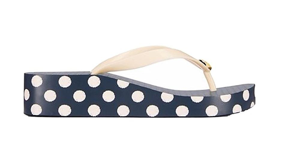 a41fbaabf Tory Burch Navy Classic Flip-flop Microdot Off White Wedges Size US ...