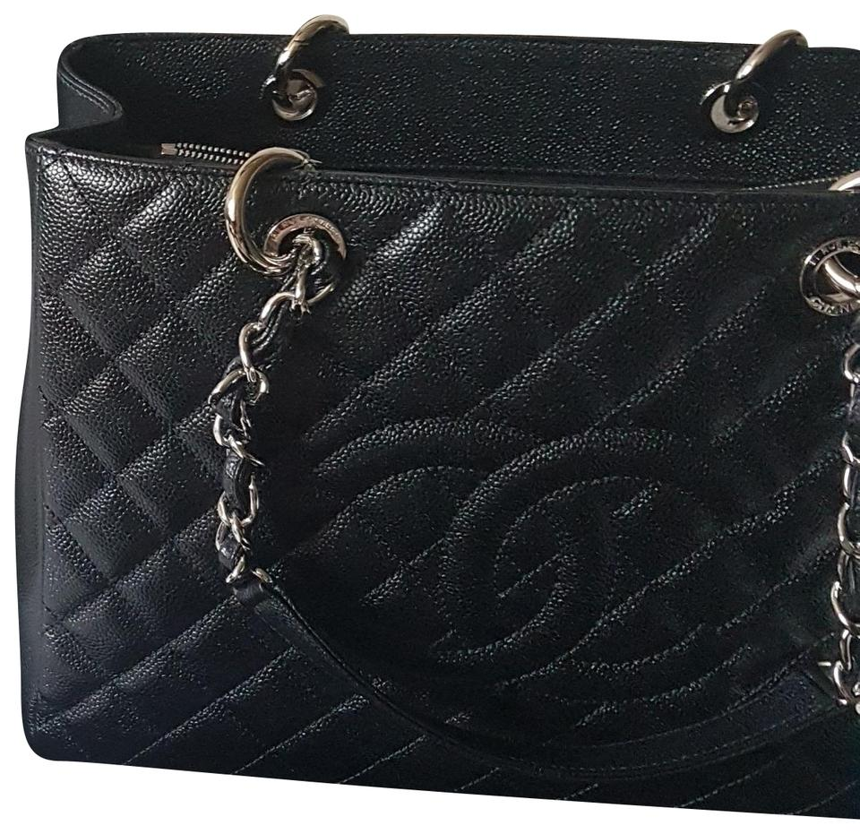 a30804443b54 Chanel Shopping Tote Caviar Grand with Silver Hardware Black Leather ...