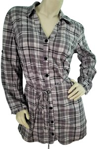 City Triangles short dress Gray, Black & White V-neck Plaid Belt Belted Button Down on Tradesy