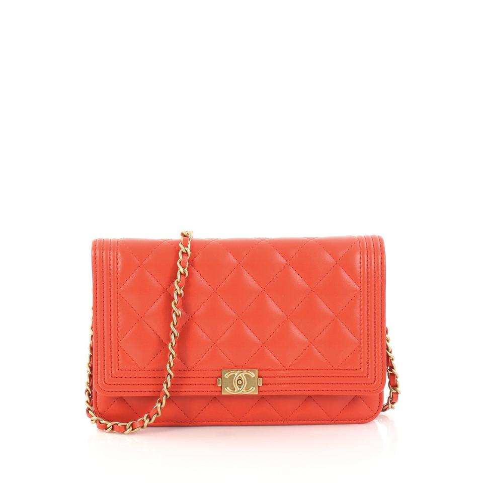 ae6f937aab82 Chanel Wallet on Chain Boy Quilted Lambskin Red-orange Leather ...