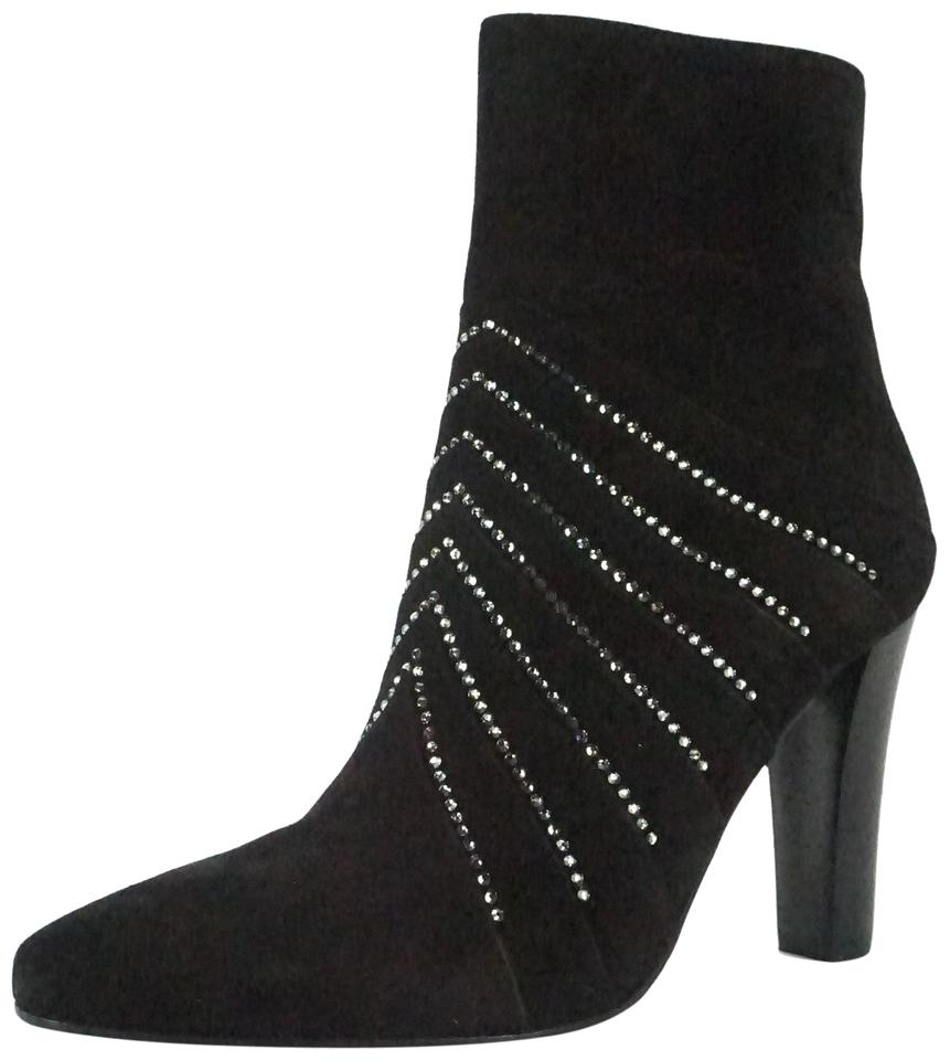 59a856faad0 Saint Laurent Black Suede Paris Lily Crystal Striped Heel Ankle Boots/ Booties