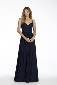 Hayley Paige Navy Chiffon/Lace Occasions Style 5711 Formal Bridesmaid/Mob Dress Size 4 (S)