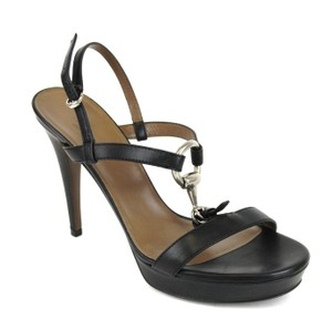 Gucci Leather Platform Horsebit Black Sandals