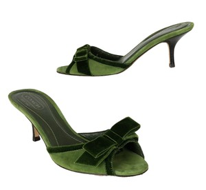 Coach Candi Suede Velvet Bow Open Toe Green Mules