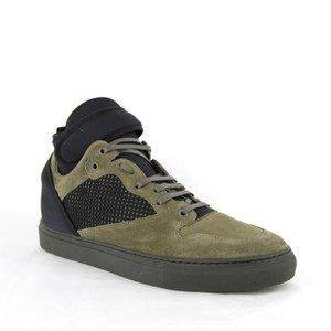 Balenciaga Black/Olive Green Men's Black/Olive Suede Leather High Top Sneakers 46/13 412349 3241 Shoes