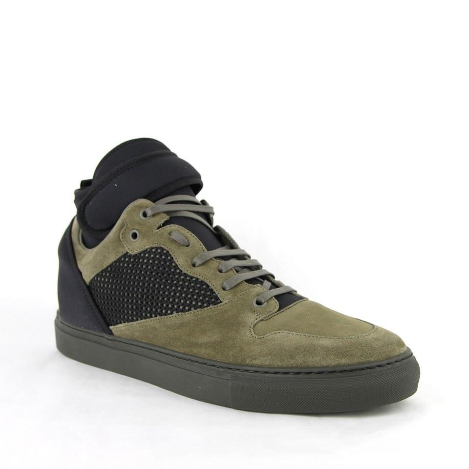 Balenciaga Black Olive Green Men s Black Olive Suede Leather High Top  Sneakers 46  ... b0fb0c453