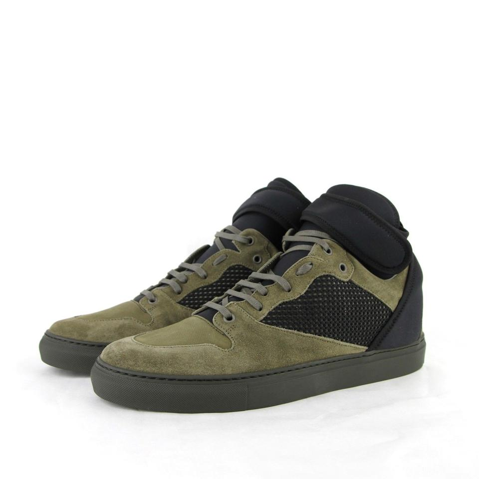 46 Black Sneakers Men's Olive High Suede 412349 Shoes Top Olive Balenciaga Black 3241 Leather 13 Green 1qSaxIPI