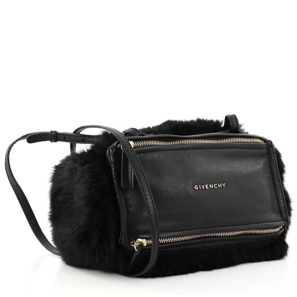 d535806c21c09 Givenchy Pandora Mini Black Leather and Fur Shoulder Bag - Tradesy