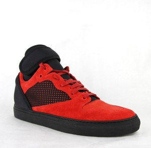 Balenciaga Black/Red Black/Red Suede Leather High Top Sneakers 41/Us 8 412349 6561 Shoes