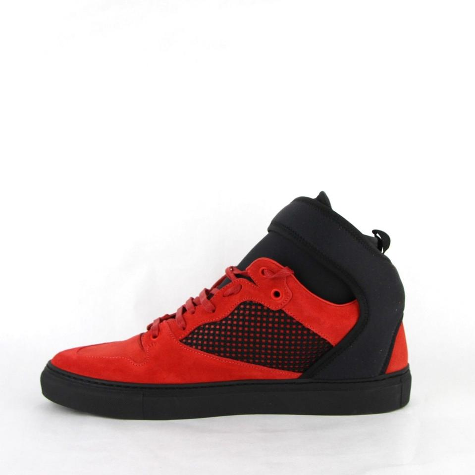 be626dd2866 Balenciaga Black/Red Black/Red Suede Leather High Top Sneakers 43/Us 10.  1234567891011