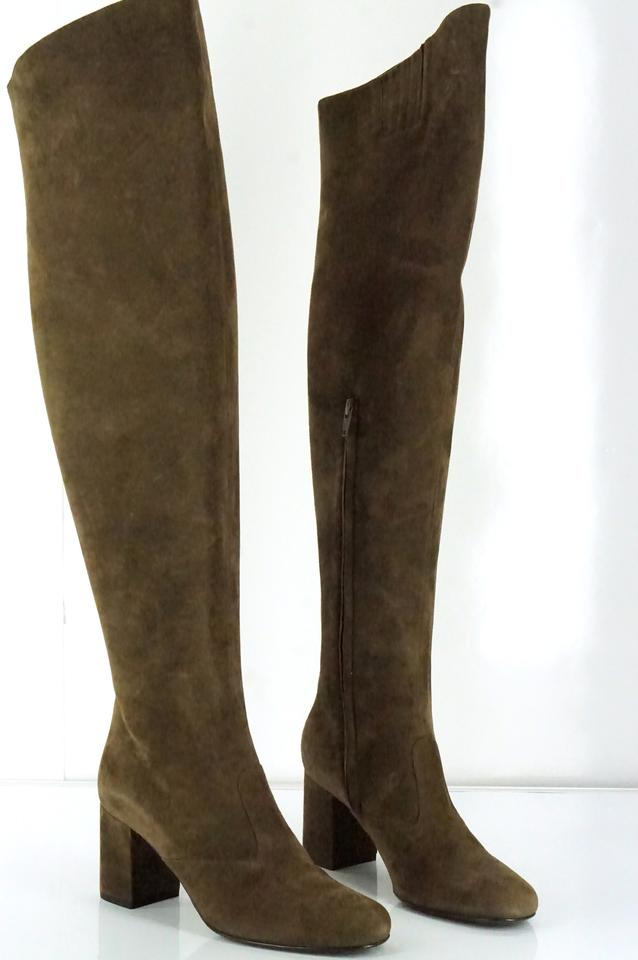 3978e3d1cc9 Saint Laurent Brown Suede Babies Over The Knee Tall Thigh High Boots/Booties