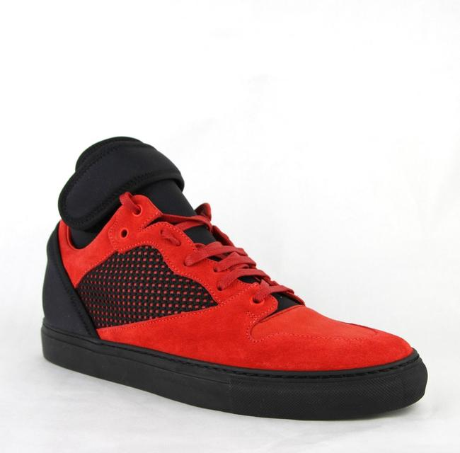 Item - Black/Red Black/Red Suede Leather High Top Sneakers 47/Us 14 412349 6561 Shoes