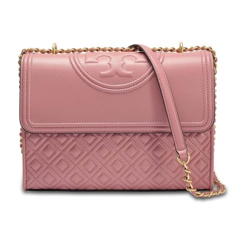 f06b2a9baa3 Tory Burch Fleming Large Convertible Pink Magnolia Leather Shoulder ...