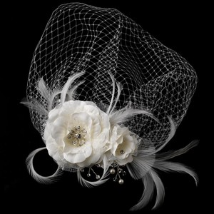 Elegance by Carbonneau Ivory Feather Fascinator and Birdcage Face Veil Comb In 755 Acces Hair Accessory