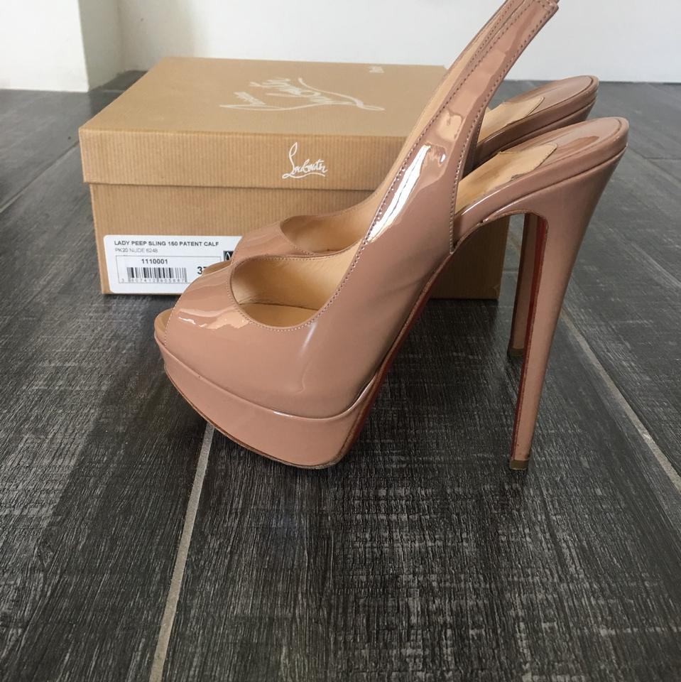 buy online 1ec81 eff9a Christian Louboutin Nude Lady Peep Sling 150 Patent Calf Pumps Size US 7  Regular (M, B) 56% off retail