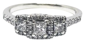 Zales 14k White Gold 3 Stone .5 TCW Authentic Diamond Engagement Ring
