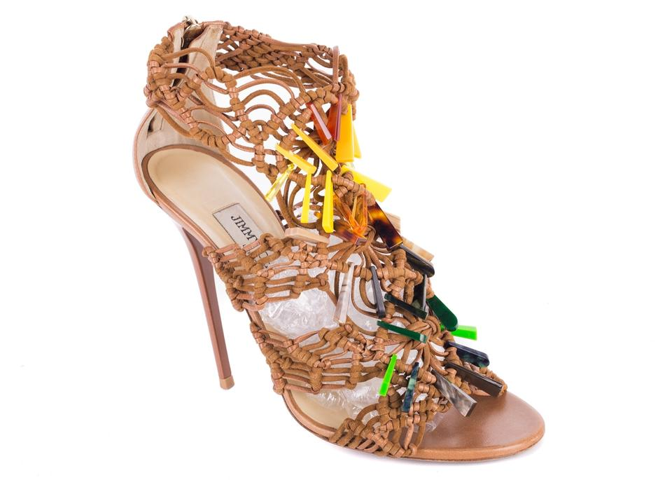 Jimmy Color Choo Brown Suede Crochet Color Jimmy Stone Accent Stiletto Sandals 292fa2