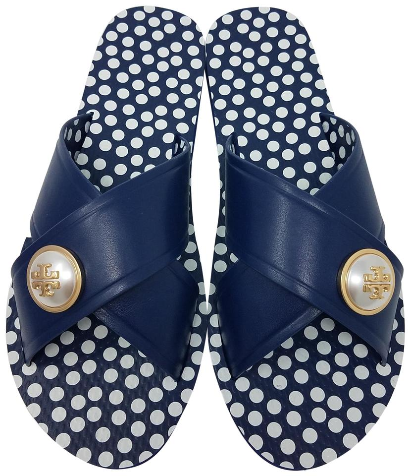 c271fcc1cb1d Tory Burch Blue Gold White Navy Leather Melody Slide Sandals Size US ...