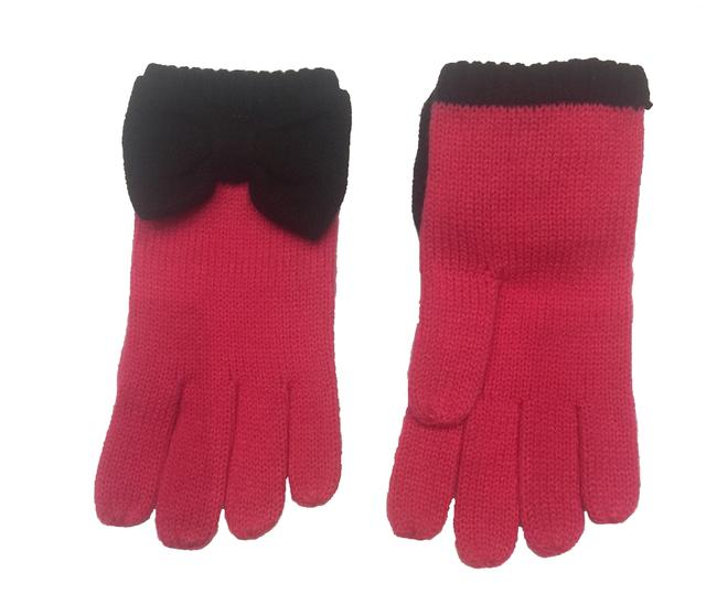 Item - Black/Pink Colorblock Bow Touch Gloves