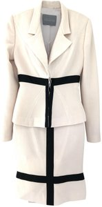 Halston Vintage Cream and Black Fitted Skirt Suit