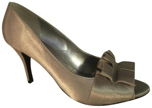 Maripé Fabric Evening Open Toe silver Pumps