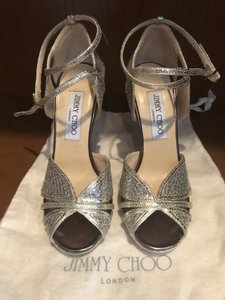 Jimmy Choo Champagne Glitter High Heel Sandals Size US 5.5 Regular (M, B)