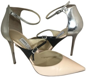 Jimmy Choo Metallic Pointed Toe Mary Jane Ankle Strap Sunday nude, black, Silver Pumps