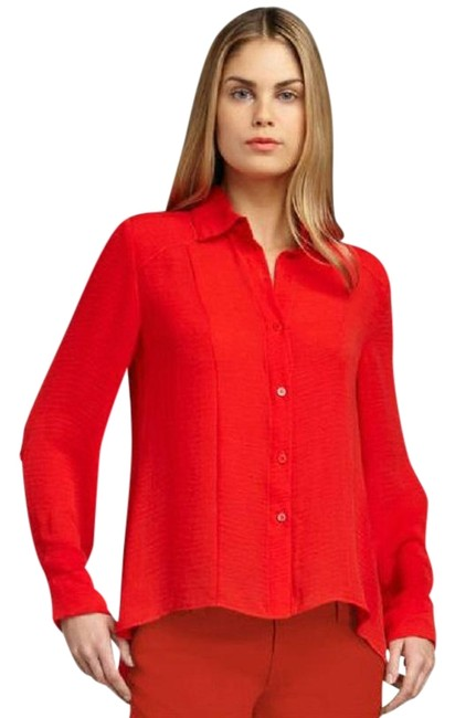 Item - Red Poppy Textured Button-down Top Size 12 (L)