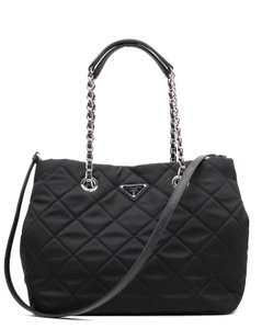 Prada Quilted Chain Tote in Black